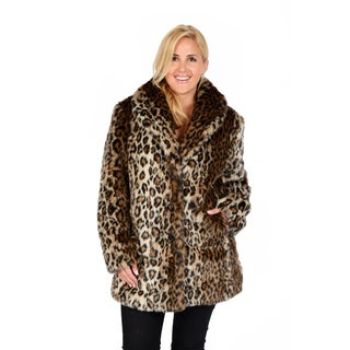 Excelled Women's Plus Leopard Faux Fur