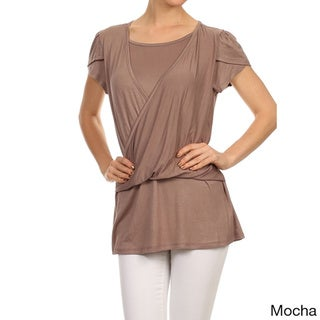 MOA Collection Women's Double Layer Short Sleeve Top