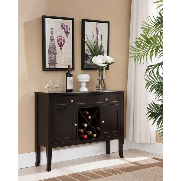 K And B Console Buffet Wine Rack Black Cherry Free