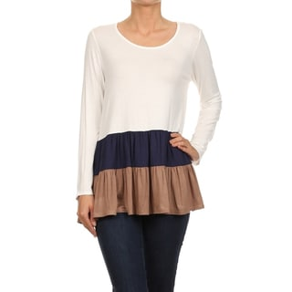 MOA Collection Women's Long Sleeve Color Block Tunic Top