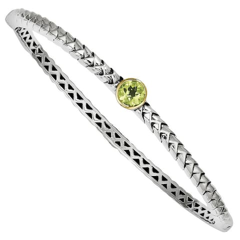 Versil Shey Couture Sterling Silver and 14 karat White Gold 1cttw Peridot Bangle Bracelet