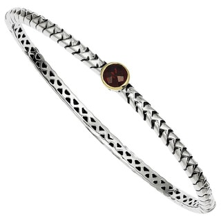 Versil Shey Couture Sterling Silver and 14k Gold 6mm Garnet Bangle Bracelet