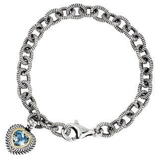 Versil Shey Couture Sterling Silver and 14k Gold 6 2/5ct Swiss Blue Topaz 7.5-inch Heart Bracelet
