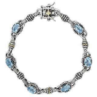 Versil Shey Couture Sterling Silver and 14k Gold 5 3/4 Swiss Blue Topaz 7.25-inch Bracelet