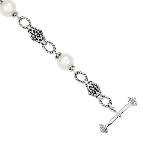 Versil Shey Couture Sterling Silver 8-8.5mm Freshwater Pearl 8-inch Bracelet
