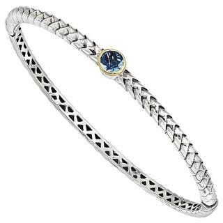 Versil Shey Couture Sterling Silver and 14k Gold 6mm Blue Topaz Bangle Bracelet