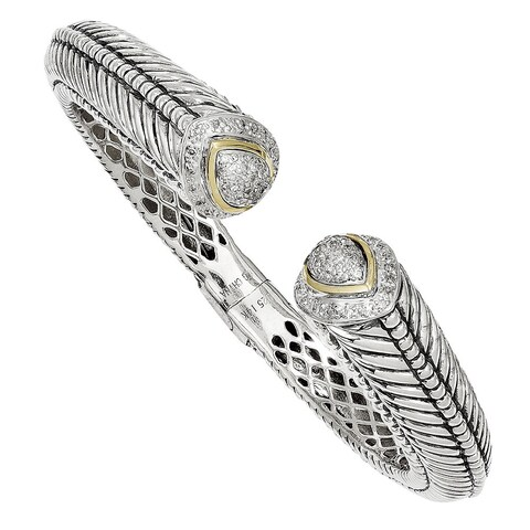 Versil Shey Couture Sterling Silver 14k Gold 1/2ct TDW Diamond Hinged Cuff Bracelet (H-I, I1-I2)