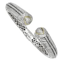 Versil Shey Couture Sterling Silver 14 karat Gold 1/2ct TDW Diamond Hinged Cuff Bracelet (H-I, I1-I2)