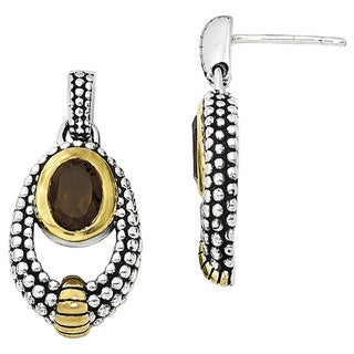 Versil Shey Couture Sterling Silver Flash Goldplated Smoky Quartz Earrings