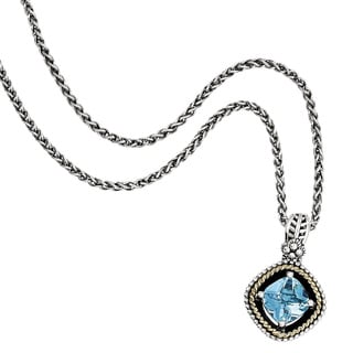 Versil Shey Couture Sterling Silver and 14k Gold Swiss Blue Topaz 18-inch Necklace