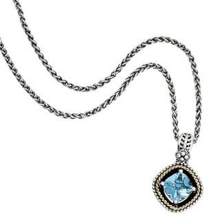 "Versil Shey Couture Sterling Silver/14 Karat Gold Blue Topaz 18"" Neck"