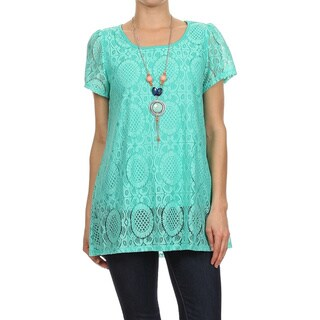 MOA Collection Women's Lined Laced Short Sleeve Tunic (Option: S)