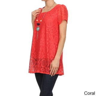 MOA Collection Women's Lined Laced Short Sleeve Tunic