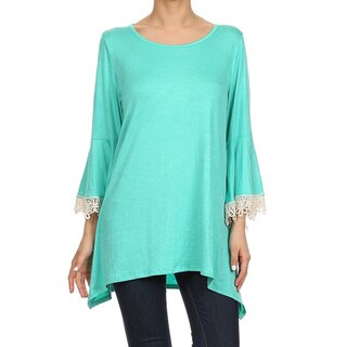 MOA Collection Women's Crochet Bell Sleeve Top