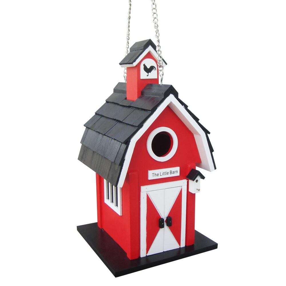 Home Bazaar Barn Birdhouse (Barn Birdhouse - Red) (Wood),...