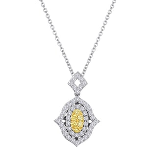 18k Two-tone Gold 1/2ct TDW Fancy Yellow Diamond Fashion Necklace By Life More Dazzling (F-G, SI1-SI2)