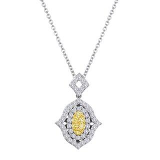 18k Two-tone Gold 1/2ct TDW Yellow and White Diamond Hamsa Necklace