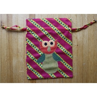 Owl Handmade Draw String Pouch