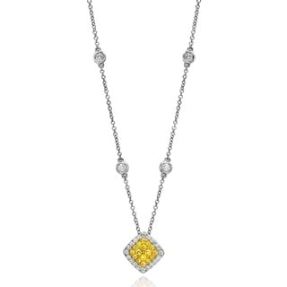 18k White Gold 5/8ct TDW Fancy Yellow Diamond Fashion Necklace By Life More Dazzling (G-H, SI1-SI2)
