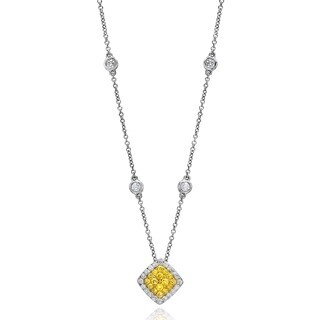 18k White Gold 5/8ct TDW Yellow Diamond Necklace with Diamond Chain Detail