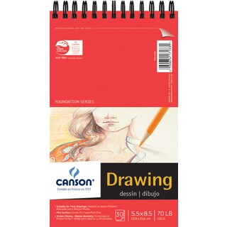 Canson Foundation Series Spiral Drawing Paper Pad 5.5inX8.5in30 Sheets