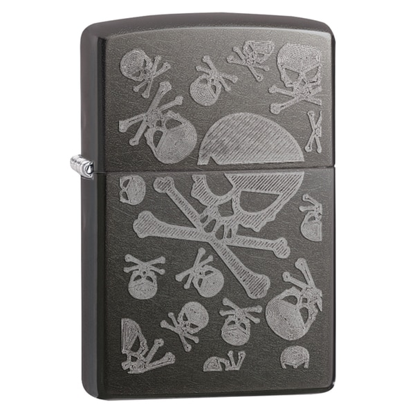 Zippo Iced Skulls Grey Dusk Windproof Lighter