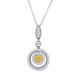 18k White Gold 5/8ct TDW Fancy Yellow Diamond Round Halo Necklace (G-H, SI1-SI2)