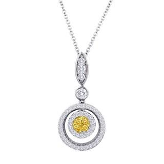 18k Two-tone 5/8ct TDW Fancy Yellow Diamond Round Halo Necklace