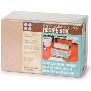 PaperMache Recipe Box6.75inX3.75inX4.5in