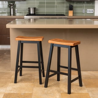Link to Pomeroy 29-inch Saddle Wood Barstool (Set of 2) by Christopher Knight Home Similar Items in Dining Room & Bar Furniture