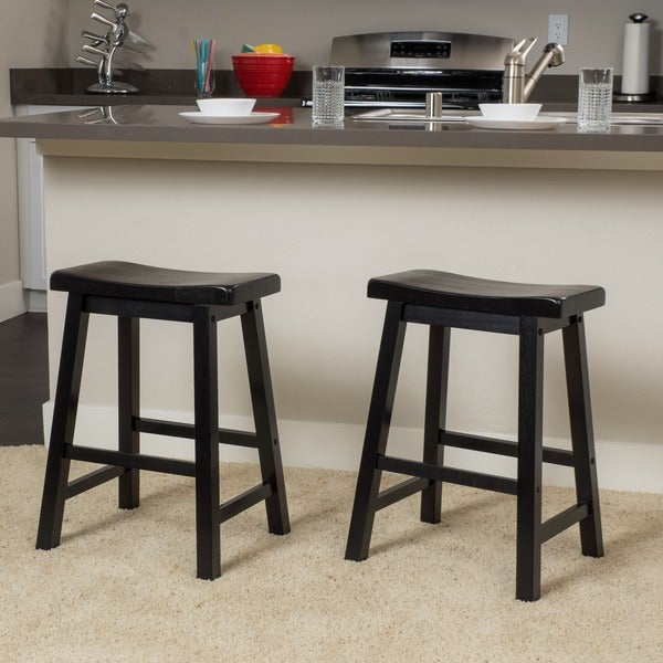 Pomeroy 24-inch Saddle Wood Counter Stool (Set of 2) by Christopher Knight : saddle counter stools - islam-shia.org