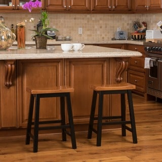 Link to Pomeroy 24-inch Saddle Wood Counter Stool (Set of 2) by Christopher Knight Home Similar Items in Dining Room & Bar Furniture