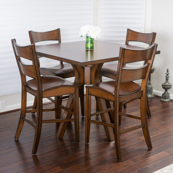 Wooden Dining Table Set: Shop Tehama 5-piece Square Counter Height Wood Dining Set