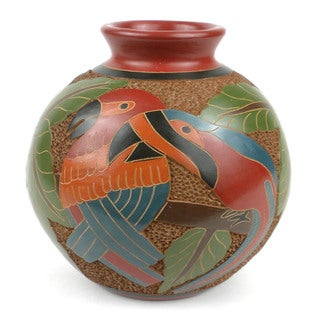 Handmade 6-inch Tall Vase - Two Parrots Design (Nicaragua)