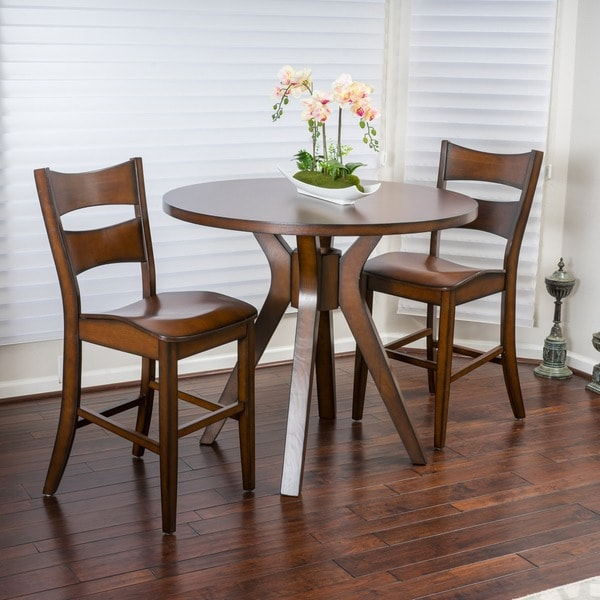 Tehama 3 Piece Round Wood Counter Height Bistro Set By Christopher Knight Home