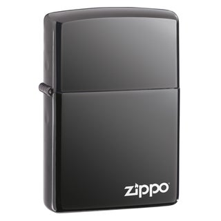 Zippo Black Ice Lighter with Logo