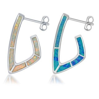 La Preciosa Sterling Silver Reversible Blue and White Created Opal Earrings
