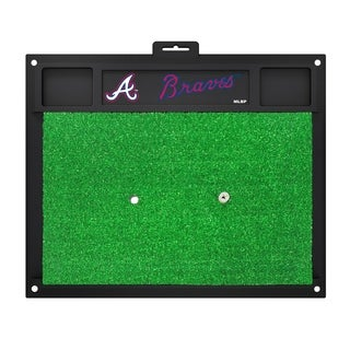 Fanmats Atlanta Braves Green Rubber Golf Hitting Mat
