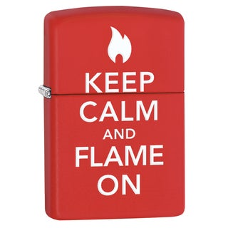 Zippo Keep Calm And Flame On Red Matte Windproof Lighter