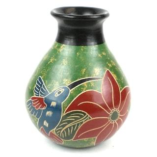 Handmade 5-inch Tall Vase - Hummingbird Design (Nicaragua)