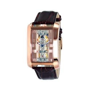 Adee Kaye Men's Rectangular Glass-Skeletal Design Timepiece