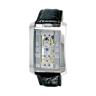 Adee Kaye Men's Rectangular Glass-Skeletal Design Timepiece