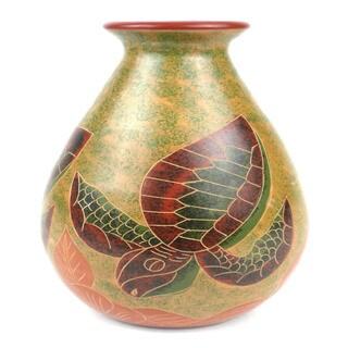 Handmade 9-inch Tall Vase - Turtle Design (Nicaragua)