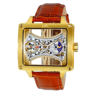 Adee Kaye Mens Square Glass-Skeletal Design Timepiece