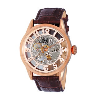 Adee Kaye Men's Round Glass-Skeletal Design Timepiece