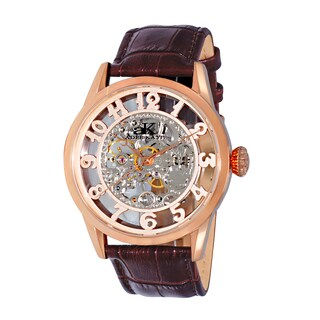 Adee Kaye Men's Round Glass-Skeletal Design Timepiece