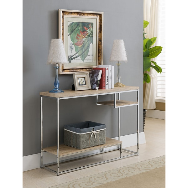 Shop K And B Console Table With Chrome And Wood Free