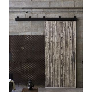 Rustica Hardware Vertical Rip Top Barn Door with Box Rail Hardware