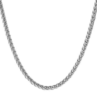 Link to Men's Polished Stainless Steel Wheat Chain Necklace (24 Inches) - Silver Similar Items in Men's Jewelry