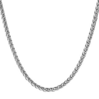 Men's Polished Stainless Steel Wheat Chain Necklace (24 Inches)